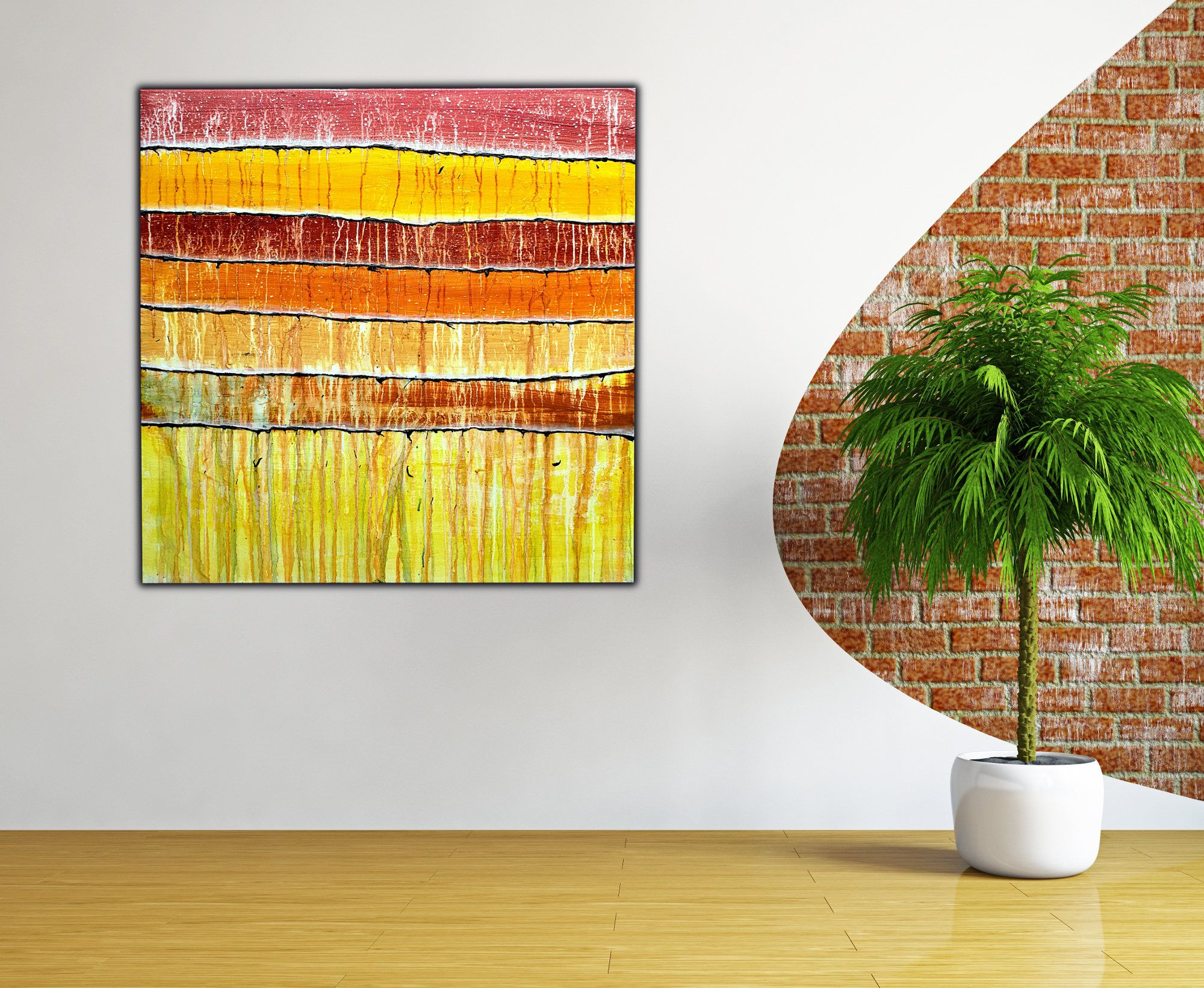 Original Abstract Painting on Canvas , Stripes Art , Brown Red ...