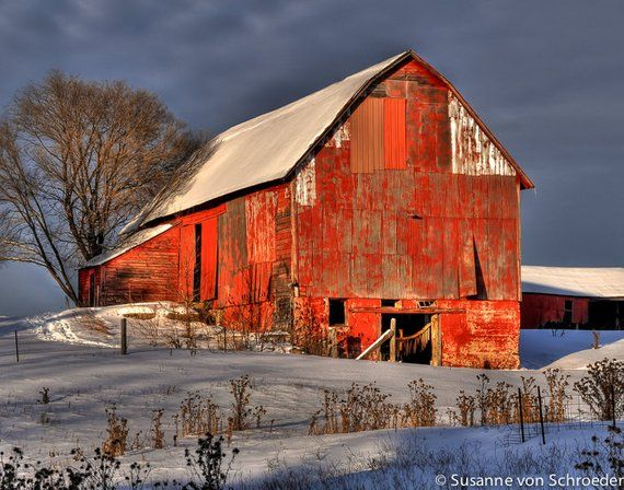 Photo of Red Barn Photo, Wisconsin, Winter Photography, Fine Art Print, Photo Card, Red Blue White, Snow, Rustic, Country Style, Home Cabin Decor