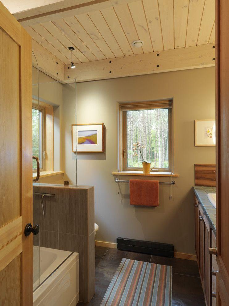 styrofoam ceiling tiles Bathroom Contemporary with bathtub glass ...