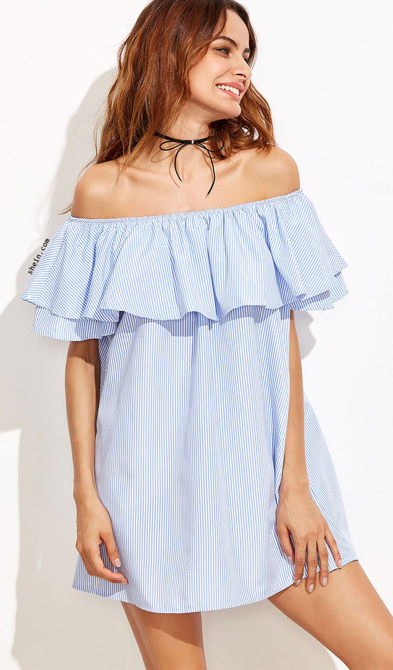 bfdc295eee67e3 Blue Striped Off The Shoulder Ruffle Dress