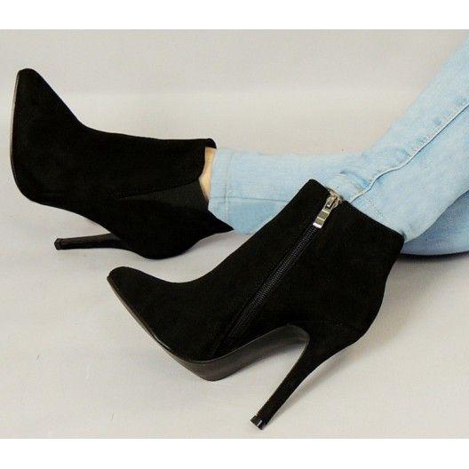 Dámska nízka zateplená obuv čiernej farby s podpätkom na zips - fashionday.eu