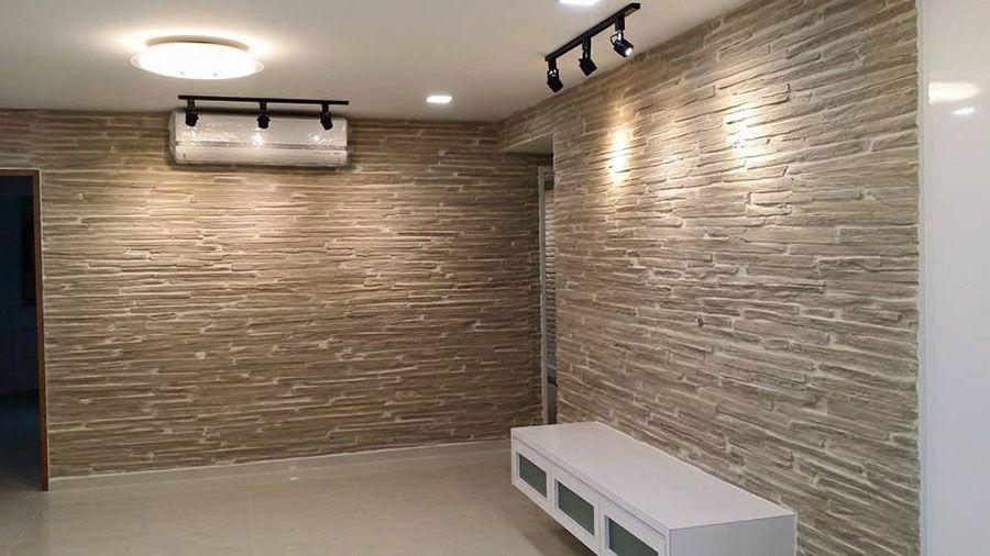Steinwand Pirenaica Beleuchtet Wandgestaltung Wohnzimmer