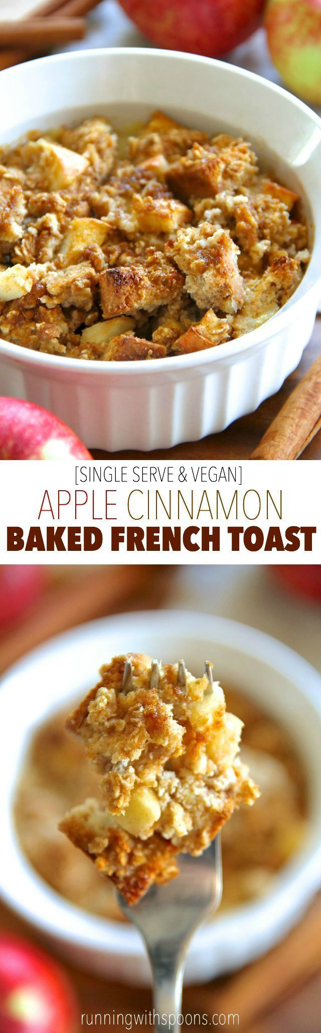 This single serve baked French toast is spiked with the delicious combination of apples and cinnamon! It�s vegan, refined sugar free, easily made gluten-free, and packed with fiber and plant-based protein. A healthy and delicious breakfast! || runningwith