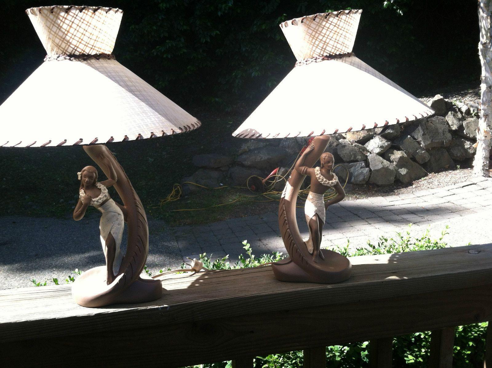 Vintage hawaiian figurine lamps 1950s chalkware majestic vintage hawaiian figurine lamps mozeypictures Images