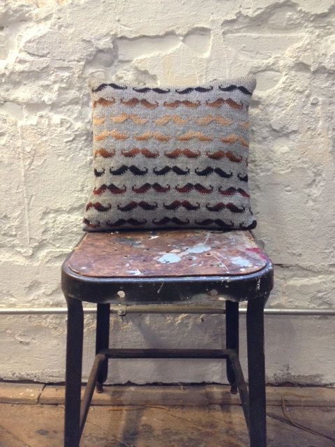"""Perfect for Ayden's """"Little Man"""" themed room! Knitted Mustache Pillow  Variegated by MustStashFiberStudio, $45.00"""