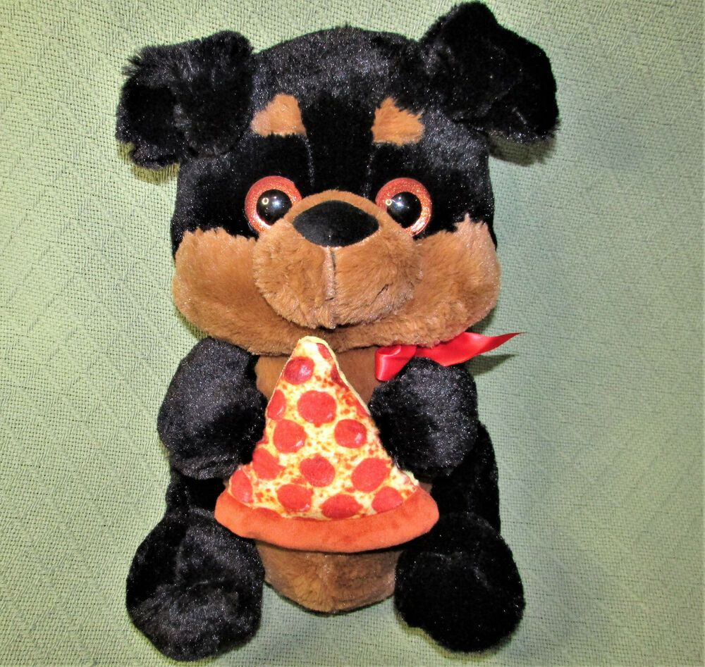 15 Inter American Products Pizza Dog Stuffed Animal Puppy Black