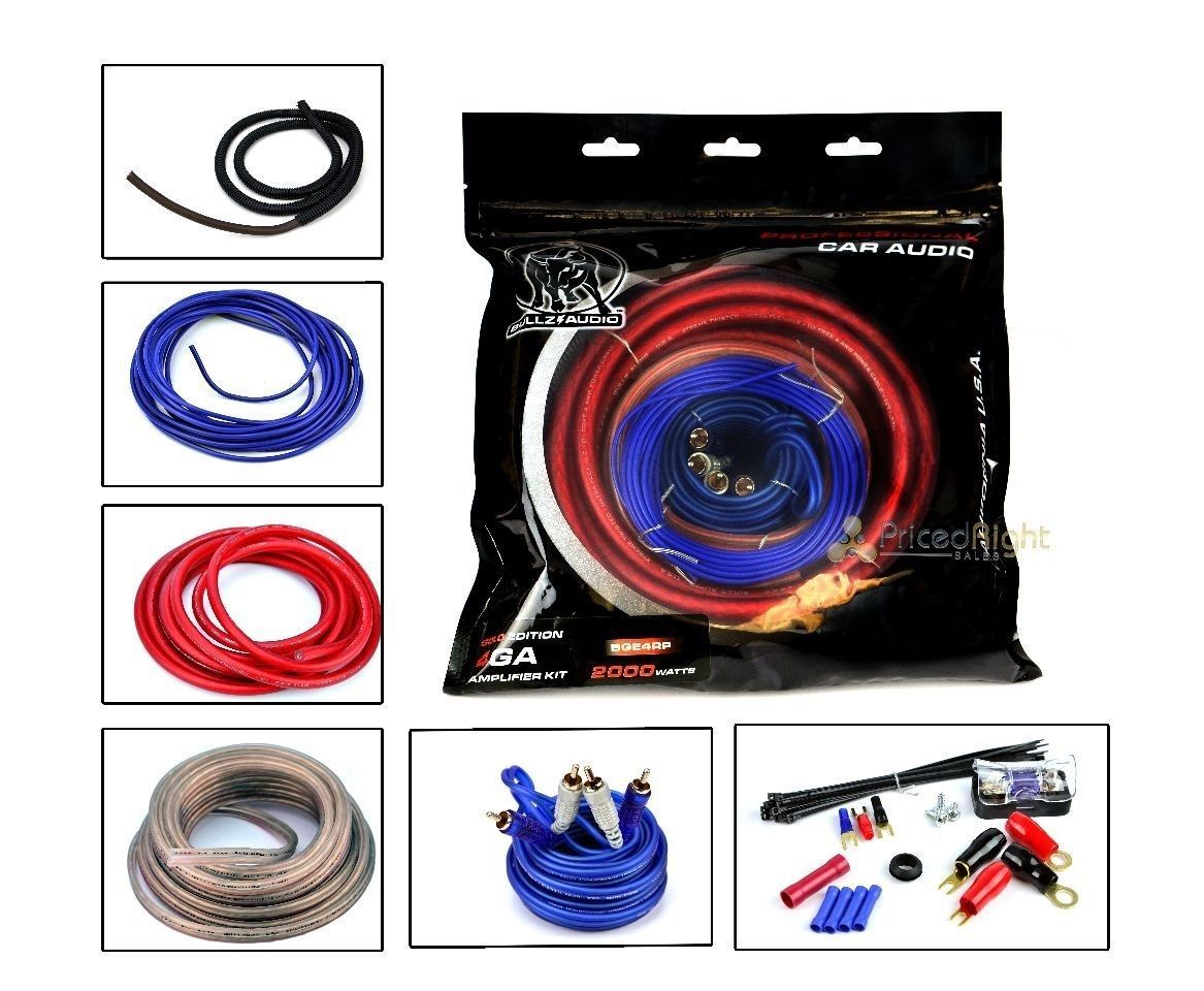 Bullz Audio 4 Gauge Car Sub Amp Amplifier Power Wiring Install Kit Bge4rp Kits Electronics Accessories Installation Products
