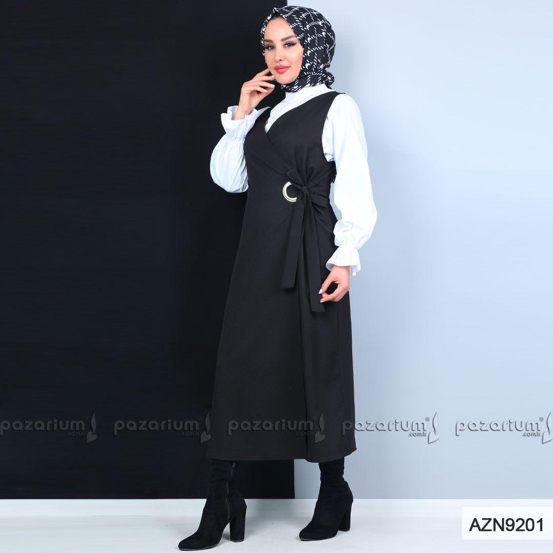 Rahat Bir Giyim Tarzi Olan Siyah Ren Anvelop Tesettur Yelek Sik Bir Goruntusu Vardir Yeni Sezon Trendleri Arasinda Yer Alan Yelegi G Moda Stilleri Triko Giyim