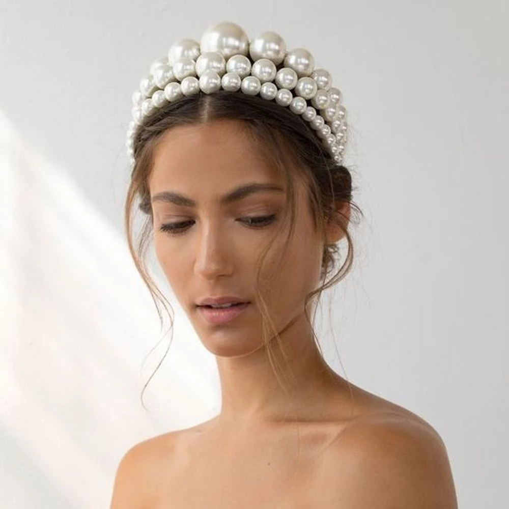 Photo of Riesige Pearl Crown Braut Stirnband