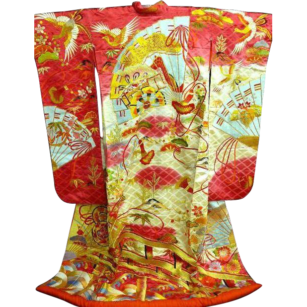 Vintage Deep Pink Silk Japanese Wedding Uchikake Kimono With Multi Colored And Gold Embroidery Truly A Japanese Embroidery Embroidery Kimono Embroidery Designs