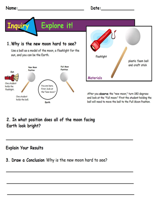 Moon Phases Activity Sheet I modified for my 4th graders ...