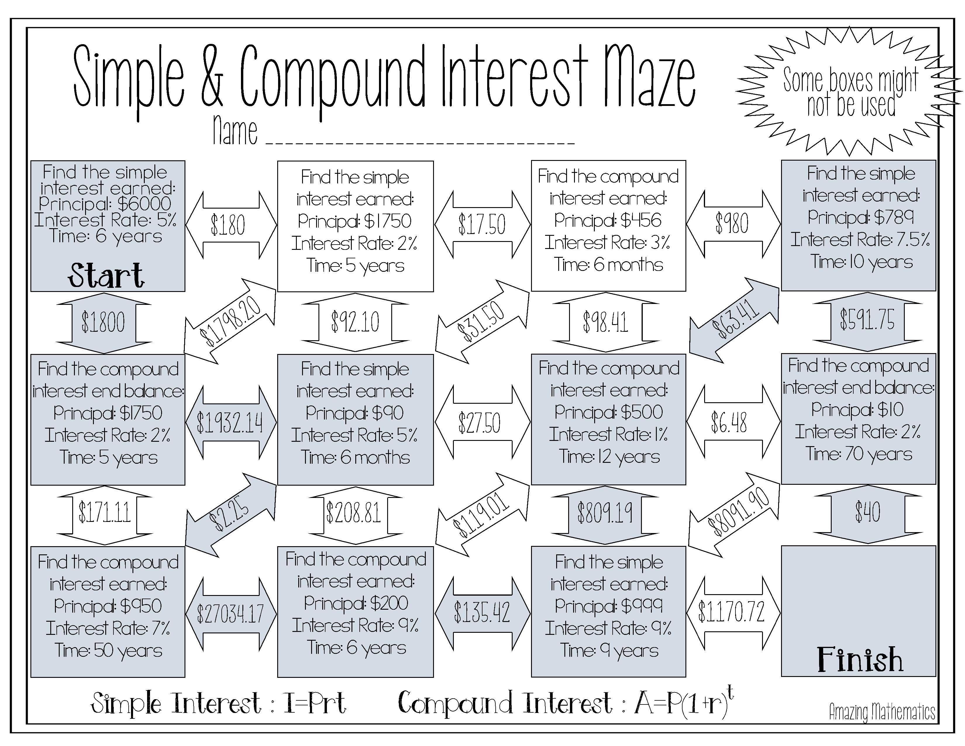 Worksheets. Word Problems Of Compound Interest Viii ...