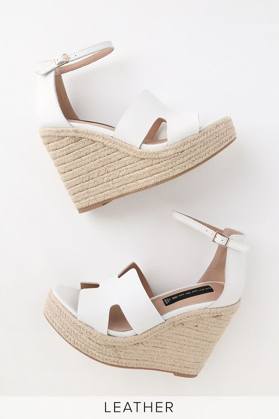 d944f4e46e0 Lulus   Sirena White Leather Espadrille Wedges   Size 10 in 2019 ...
