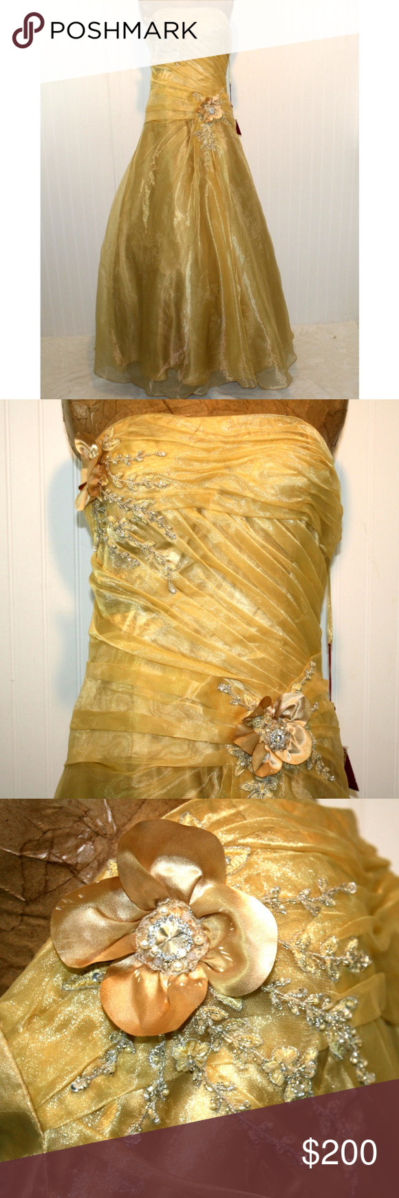 Nwt may queen couture gold size ball gown prom nwt in my