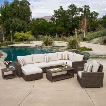 Costco milano 9 piece seating set patio furniture for Ensemble patio costco