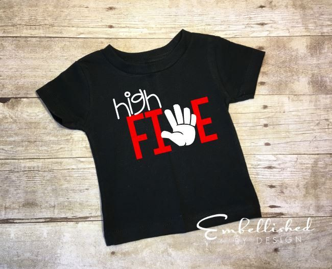 Five Year Old Birthday Shirt High 5th 5 Boy Outfit Tee Hipster Kid