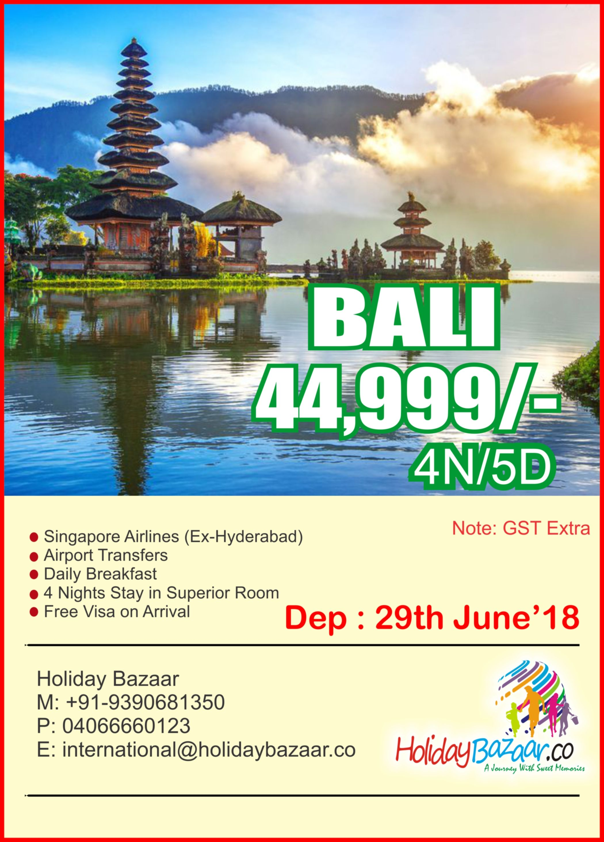 A well customised Bali Tour Package will offer this to you