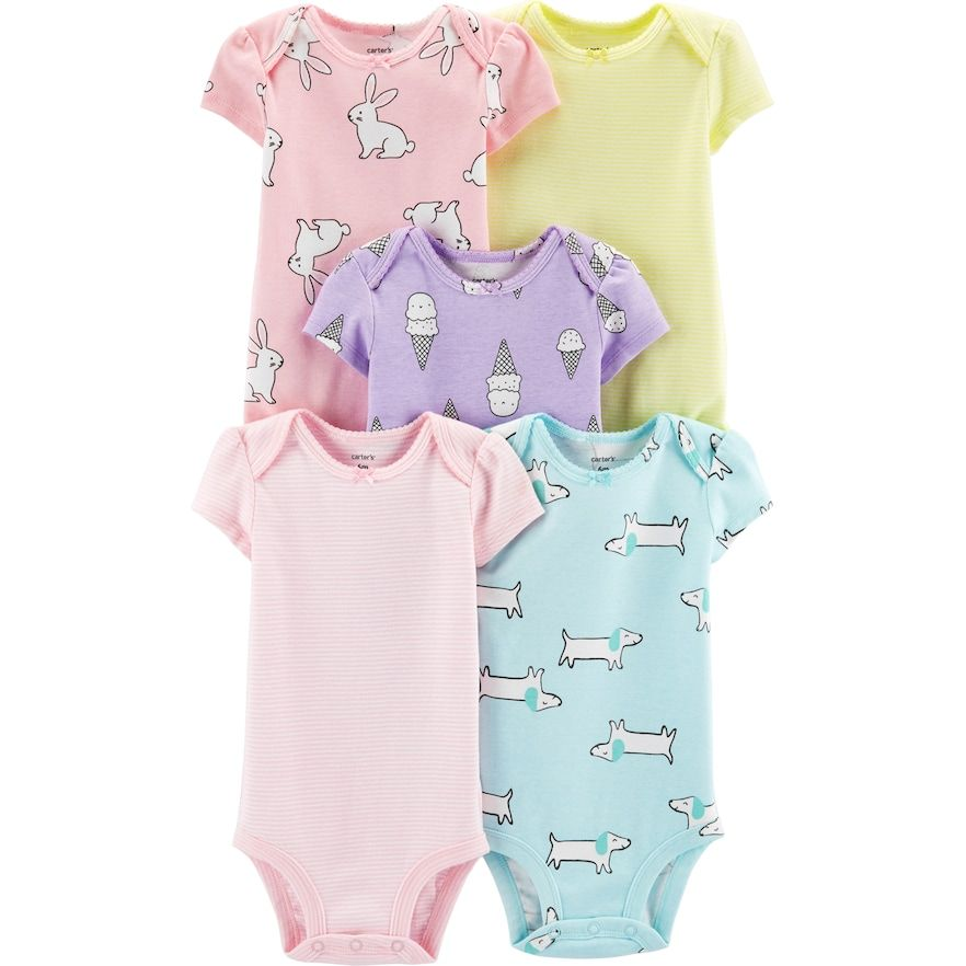 6d92de109 Baby Girl Carter s 5-pack Print   Striped Bodysuits