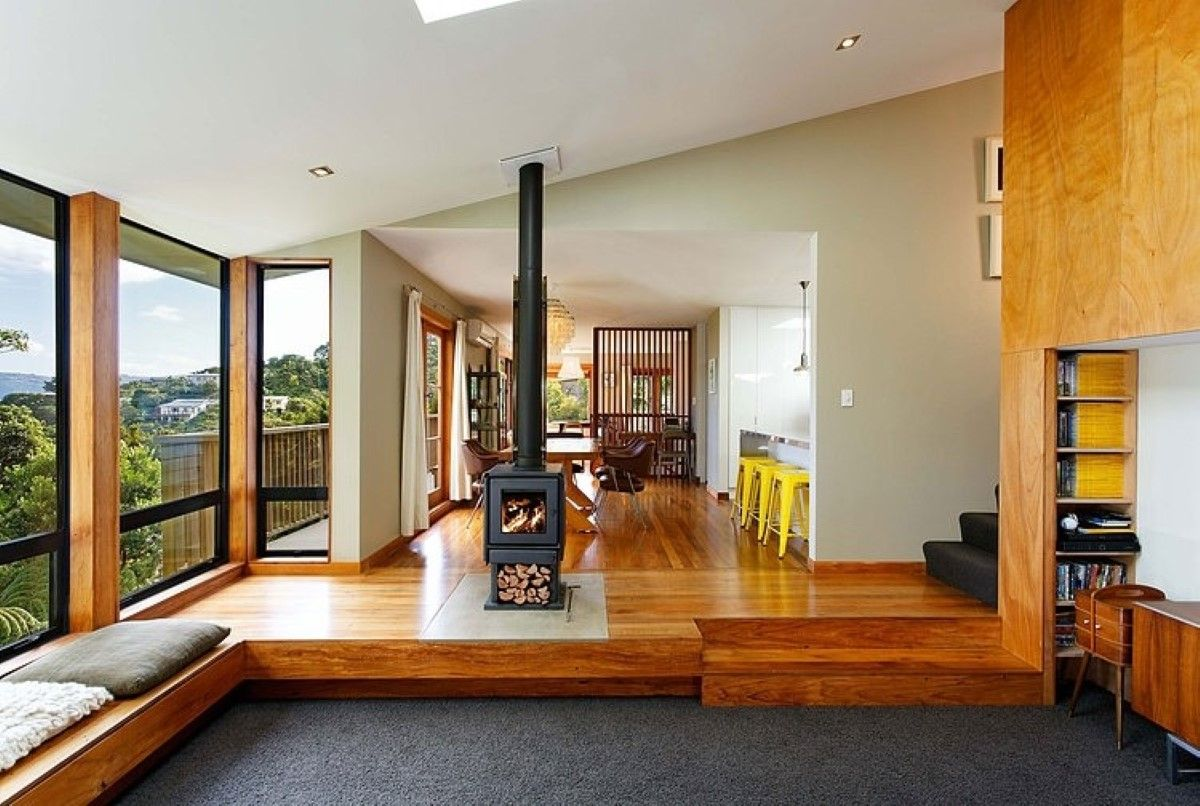 Wooden Flooring Ideas For Open Plan House Design With Modern Furniture And  Chimney Log Fireplace.