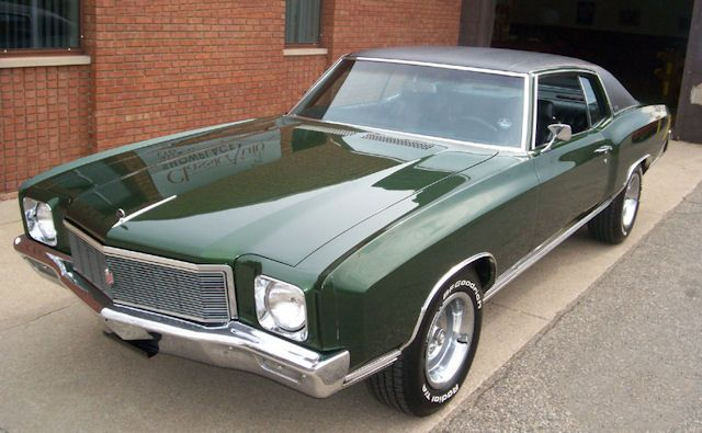 1971 Monte Carlo Antique Green Black Vinyl Top Classic Cars Usa Classic Cars Muscle Muscle Cars Camaro