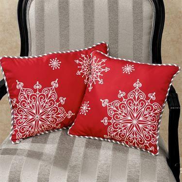 Jeweled Snowflake Red Decorative Pillow Set 40 Square Pillow Interesting Jeweled Decorative Pillows