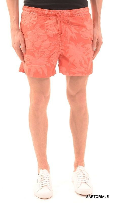 RUBINACCI Napoli Corall Floral Cotton Bathing Suit Swim Shorts Trunks 48 M NEW
