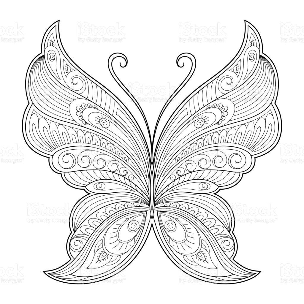 Butterfly Decorative Element Pattern For The Design Of Postcards Mandala Malvorlagen Zentangle Muster Kostenlose Ausmalbilder