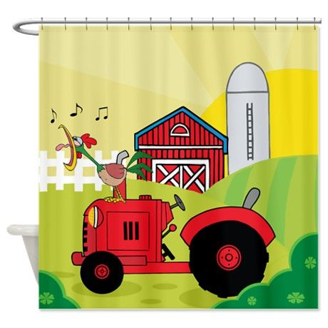Red Tractor On Farm Shower Curtain By One Stop Gift Shop Cute
