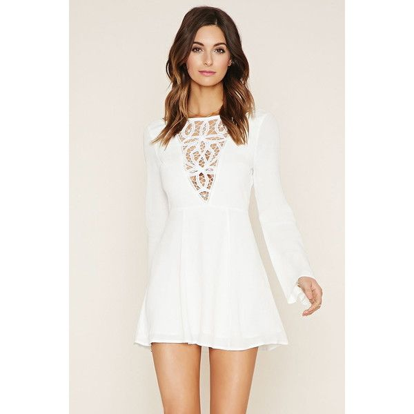 Forever 21 Women s Crochet-Paneled Mini Dress ( 28) ❤ liked on Polyvore  featuring dresses 9fa4e906fc