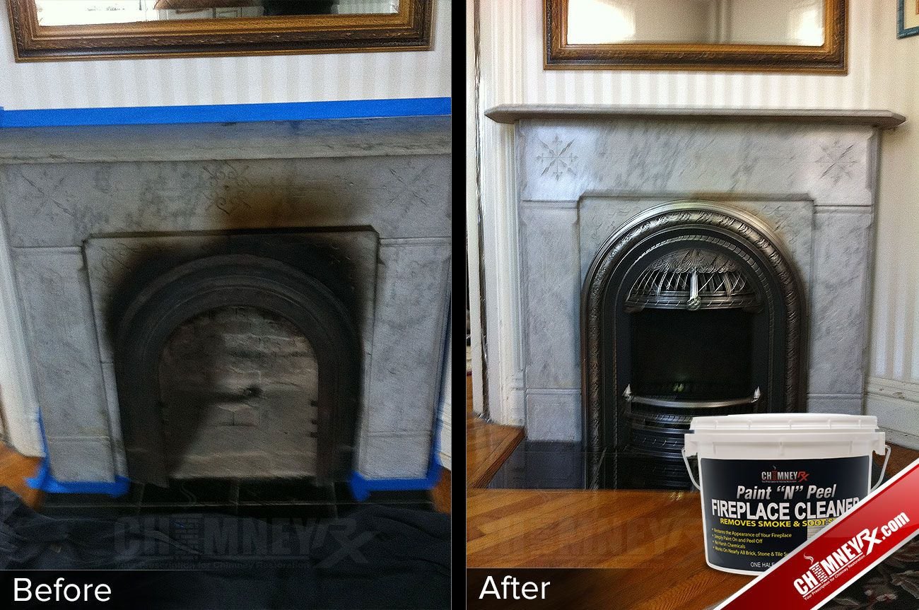 Smoke Stains On A Fireplace Before And After Being Cleaned With Paint N Peel Fireplace Cleaner Clean Fireplace Fireplace Cleaner Cleaning