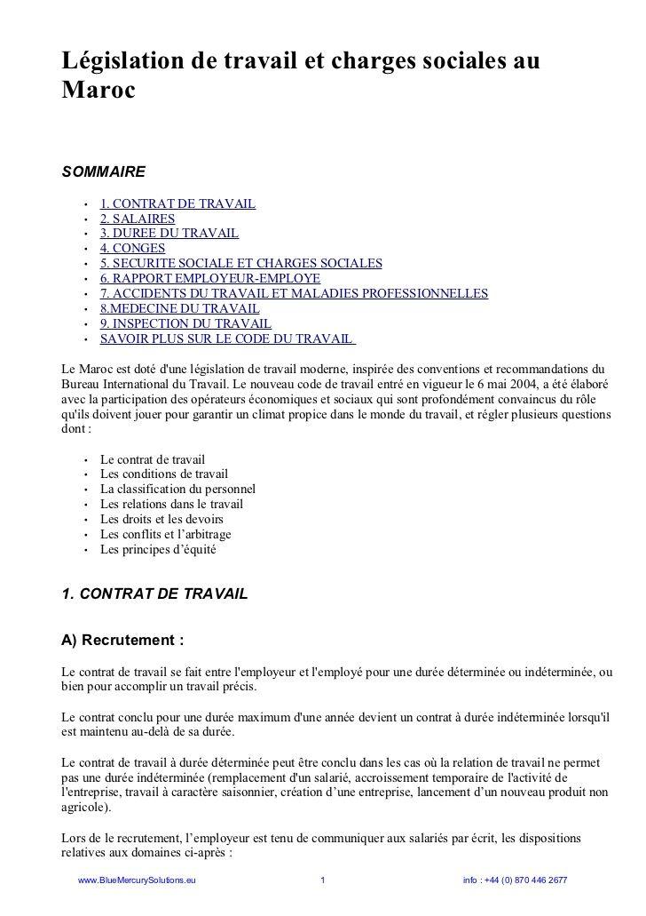 Législation de travail et charges sociales auMarocSOMMAIRE • 1