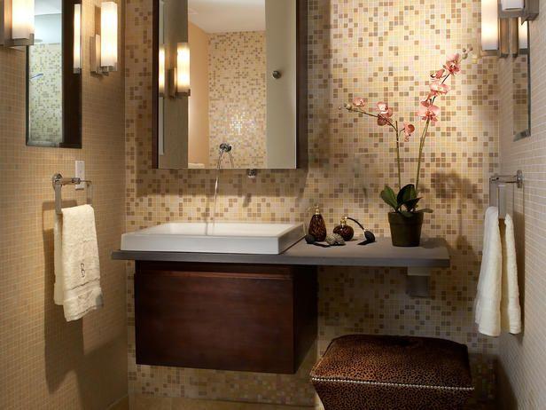Floating Bathroom Vanity with Mosaic Tiled Backsplash in Neutral