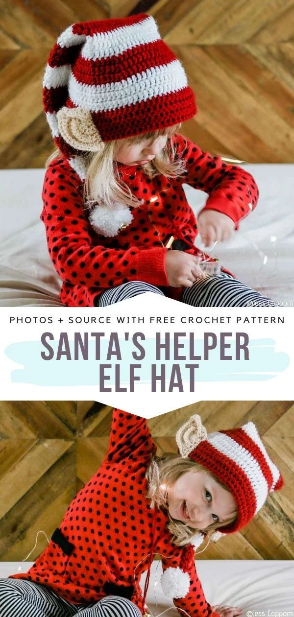Santa's Helper Elf Hat Free Crochet Pattern It's good to have some help during Christmas preparations,. Kids are not always happy to put their hands on board, but in this Santa's Helper Elf Hat every little one will feel special and engaged! This is a simple design that will make Christmas even more magical for your kids. Stripy pattern and silly ears are what we all need. Make a bunch of these for the whole family! . #crochethat #christmashat #santahat
