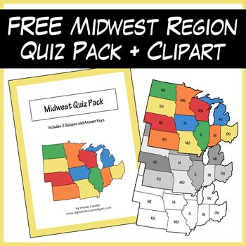 FREE Midwest Region Quiz Pack Map Clipart From Wendy Candlers - Us midwest region map games