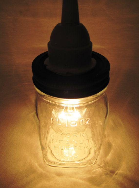 hanging jar light made from vintage york peanut butter jar