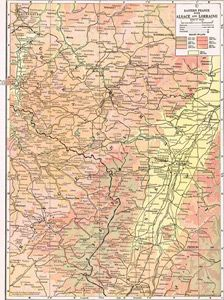 1910 Map of Eastern France with Alsace & Lorraine; by C.S. Hammond Cs Of France Map on