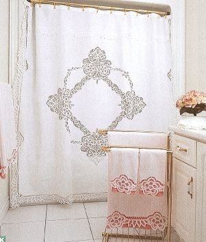 ELITE BATTENBURG LACE WHITE COTTON SHOWER CURTAIN