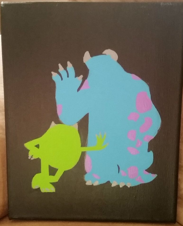 Monsters Inc Mike And Sully Reverse Silhouette By Twiceuponacanvas