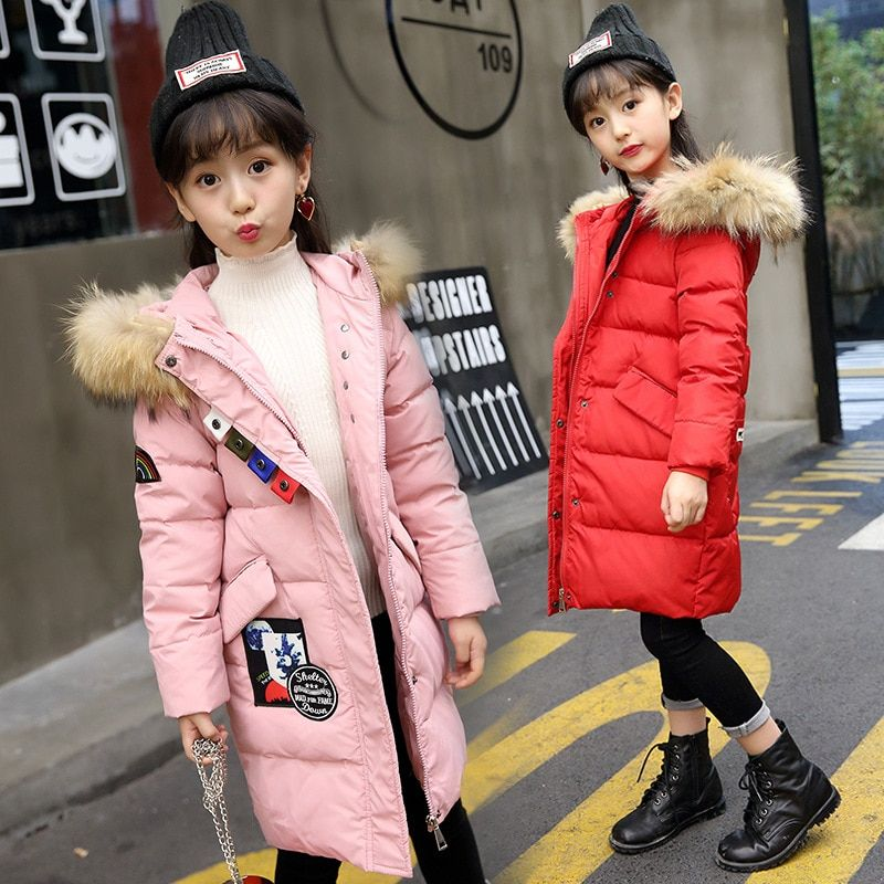 3f0d0a44fadcc Winter Jackets For Girls Hooded Girls Down Coat Print Warm Thick Kids  Outerwear Autumn Teenage Girls Clothing For 4-12 Years
