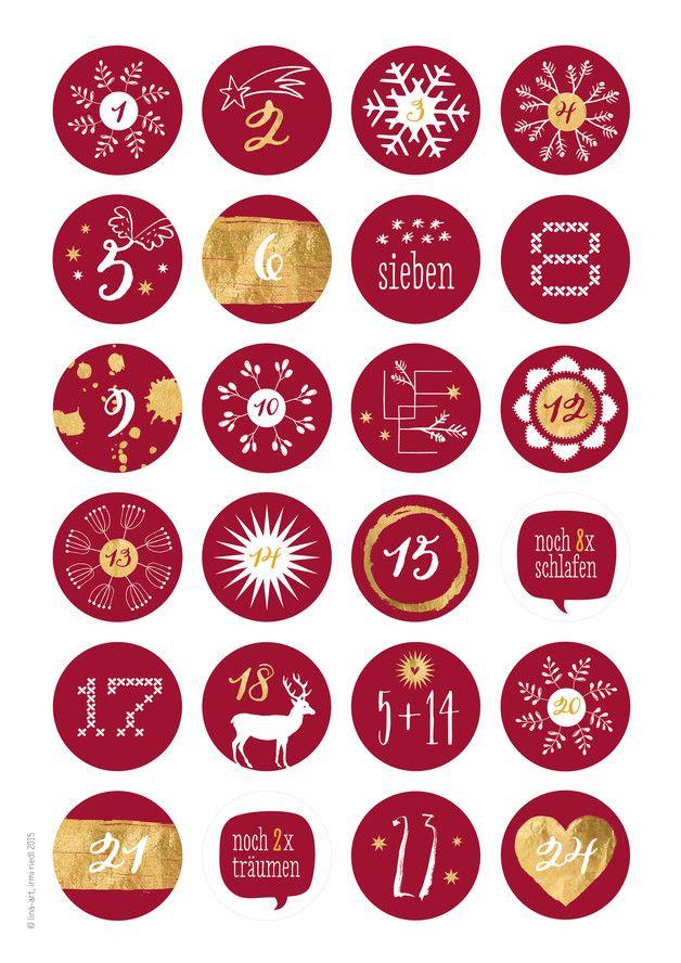 Deko und Accessoires für Weihnachten: Adventskalenderzahlen ROTGOLD Potpourri made by lina-art - schön fröhlich, originell und locker bleiben via DaWanda.com #calendrierdelaventdiy
