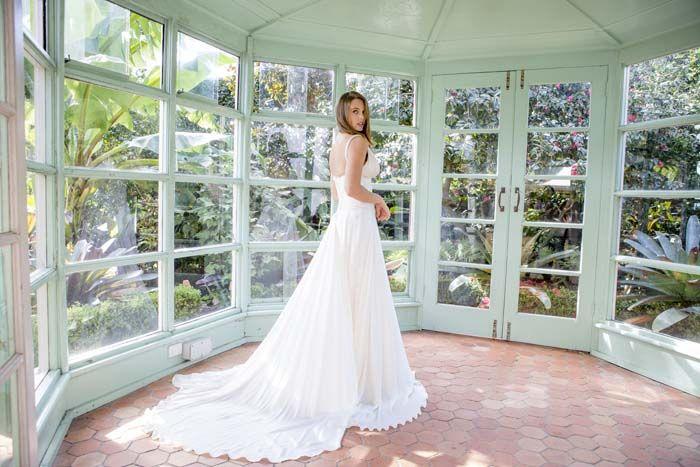 fb4580751482 Moira Hughes Couture Wedding Dress Sydney Designer Historic Lindesay House.  Outdoor Wedding  MoiraHughes www.MoiraHughes.com.au Italian Silk low lace  back