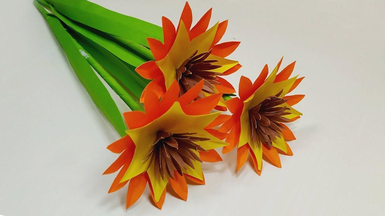 Stick Flower Making Easy Paper Flower Home Handcraft Idea