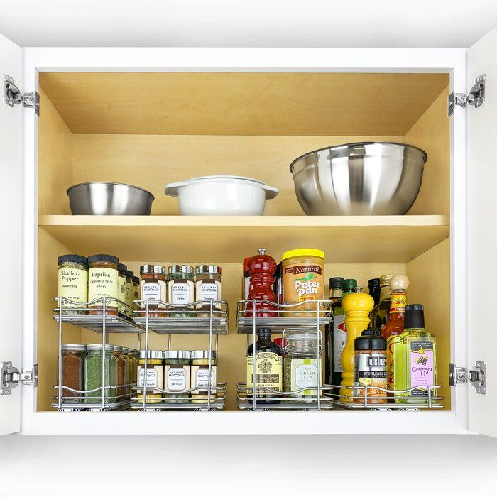 Slide Out Double Upper Cabinet Organizer 20 Jar Spice Rack ...