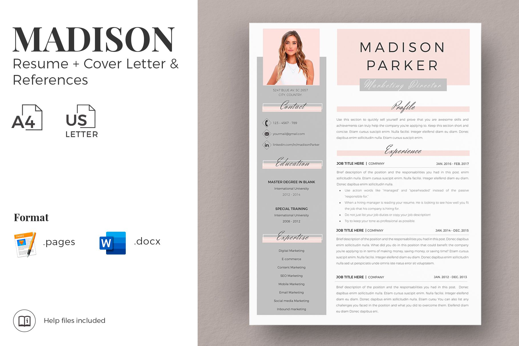 Creative Resume Templates For Ms Word And Mac Pages Professional Resume Templates And Matching Cover Lett Resume Design Creative Resume Resume Design Template