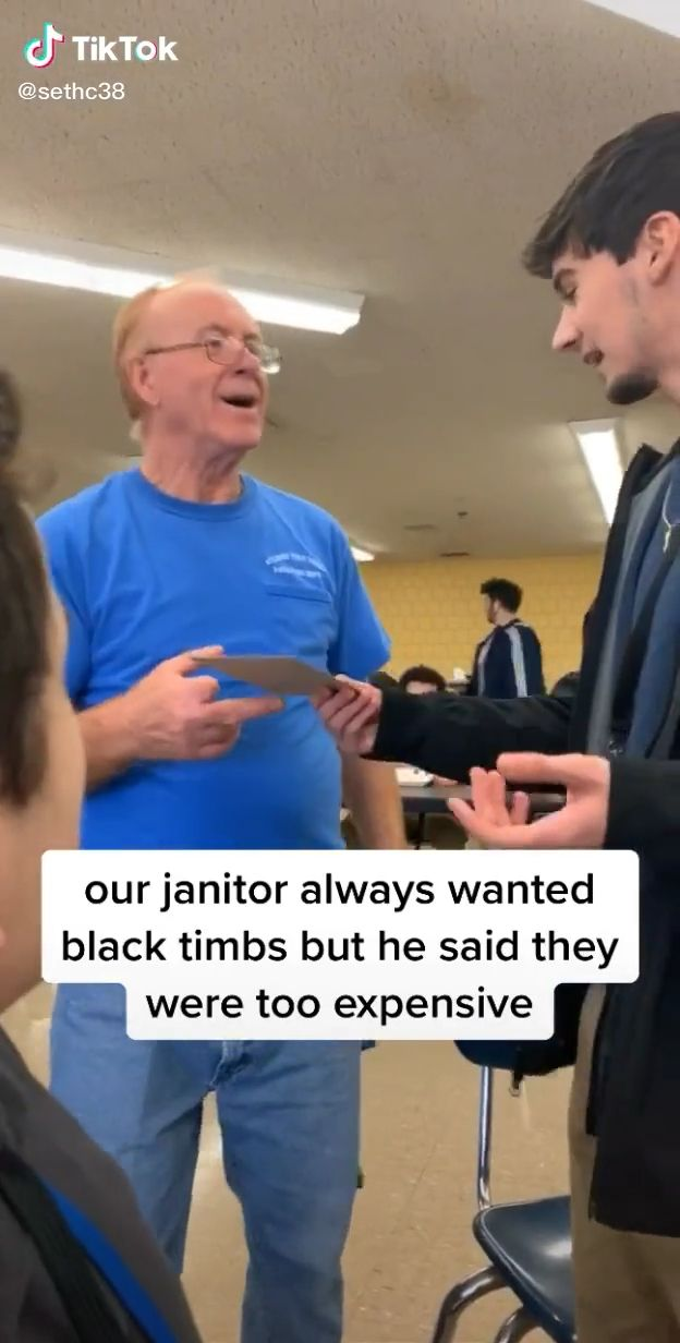 Photo of Their janitor wanted black Timberland boots but couldn't afford them. So for Christmas…