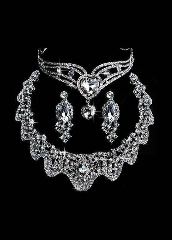This would make me feel like Princess Jasmine  Glamorous First Class Austrian Diamonds,Shiny Rhinestones,Alloy Necklace, Earrigs & Tiara For Your Wedding Dress