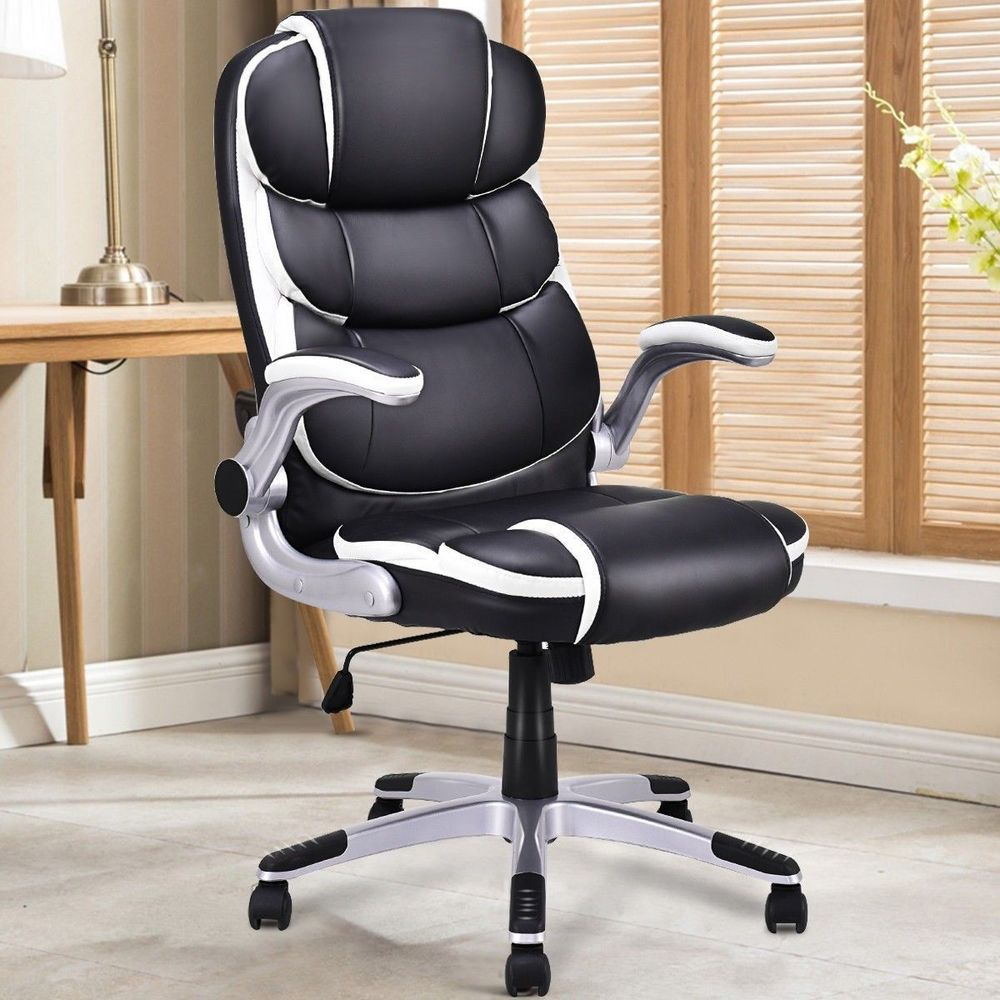 luxury office chairs leather. Luxury Office PU Leather High Back Executive Swivel Chair Desk Home Furniture Chairs