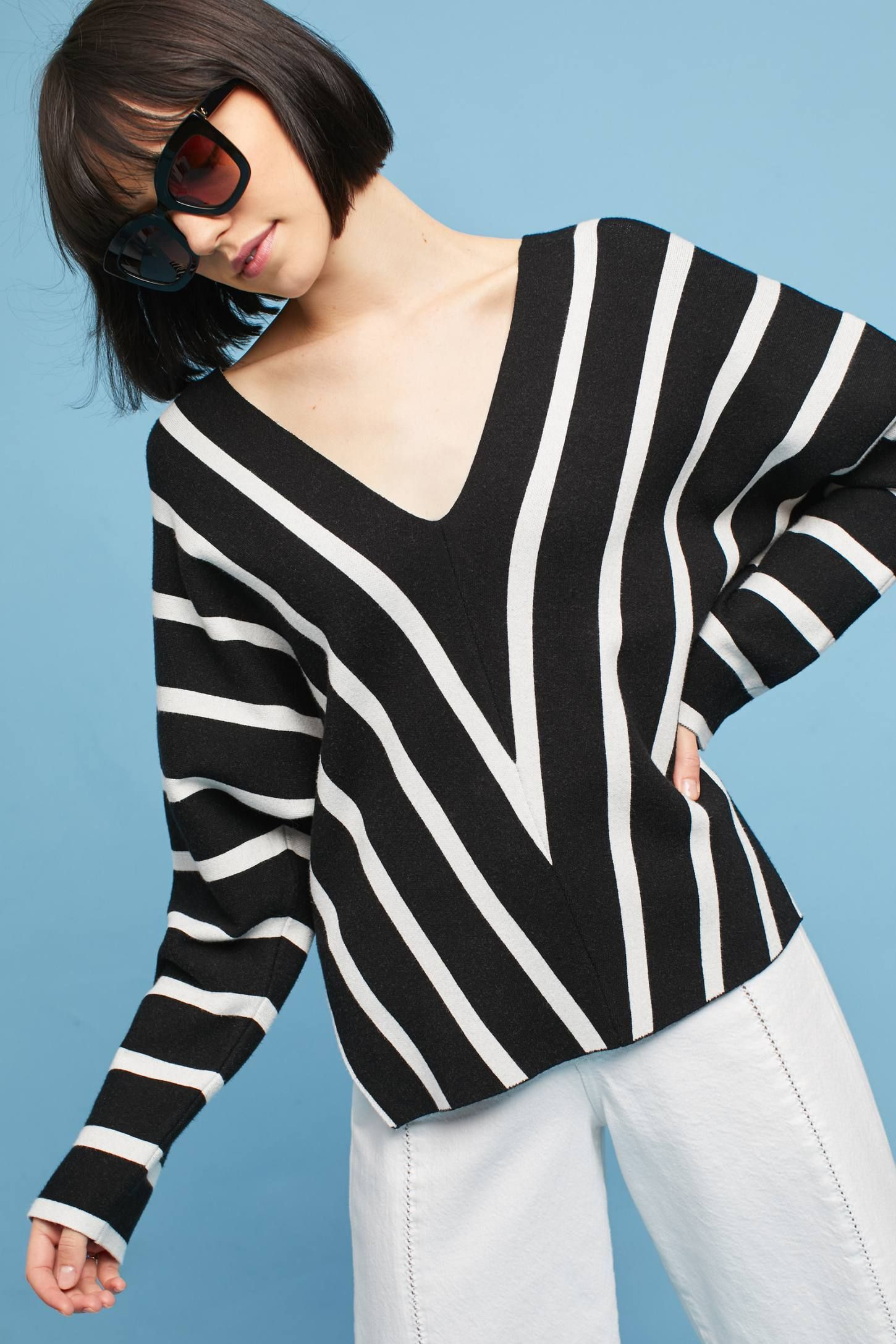 355d6b7929d Shop the Striped V-Neck Pullover and more Anthropologie at Anthropologie  today. Read customer reviews
