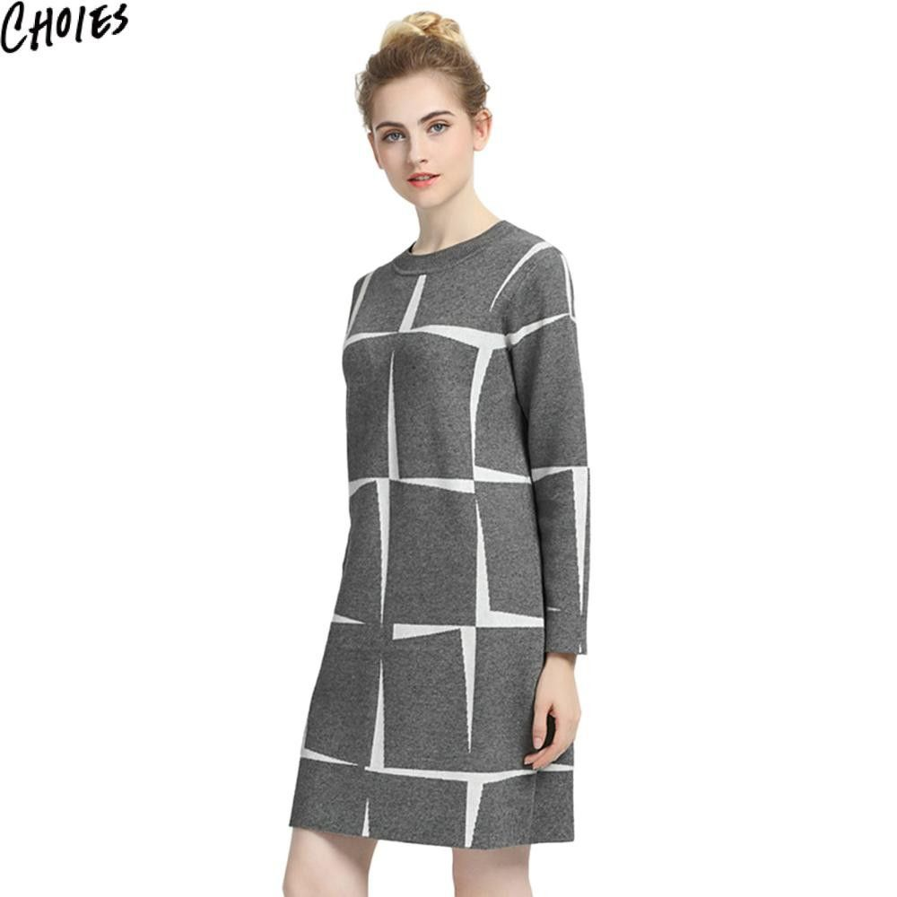 Women 3 Colors Contrast Check Brief Elegant Long Sleeve Knitted Mini Shift Dress Autumn New Round Neck Stretch Clothing