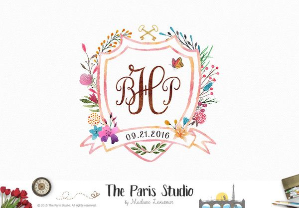 Custom Monogram Logo Design Wedding Family Crest Baby Birth